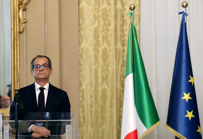 FILE PHOTO: Italian Economy Minister Giovanni Tria looks on before a joint news conference with Eurogroup President Mario Centeno at the Treasury ministry in Rome