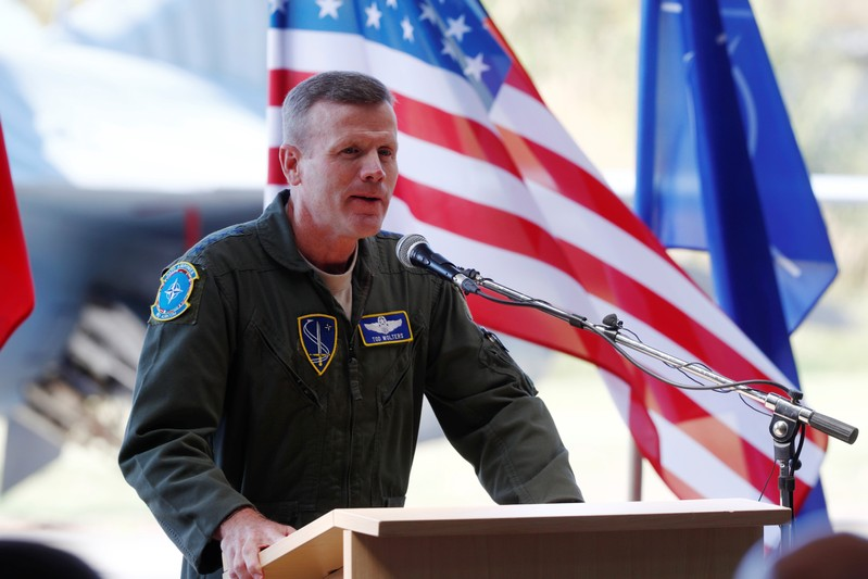 FILE PHOTO: U.S. Air Forces in Europe Commander Wolters speaks during NATO Baltic air policing mission takeover ceremony in Siauliai