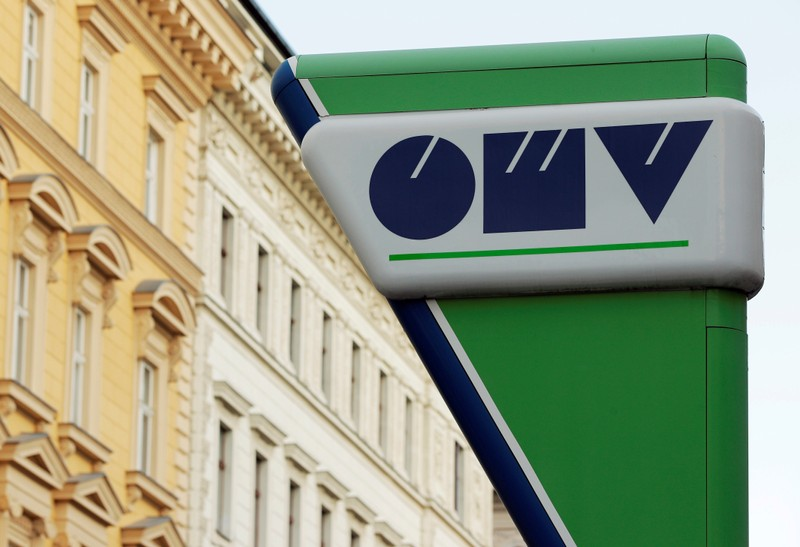 FILE PHOTO: The logo of Austrian oil and gas group OMV is seen at a gas station in Vienna