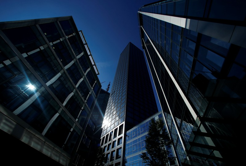FILE PHOTO: Office buildings are pictured in the financial district of Frankfurt