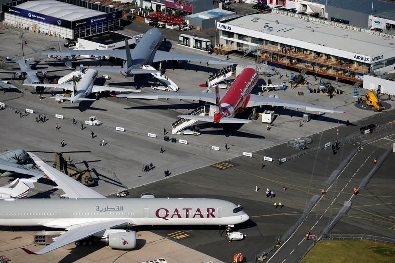 An aerial view shows the 53rd International Paris Air Show at Le Bourget Airport near Paris
