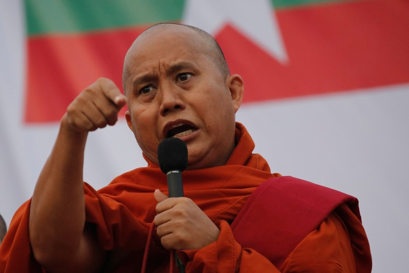 FILE PHOTO: Myanmar Buddhist monk Wirathu speaks at a rally against constitution change in Yangon