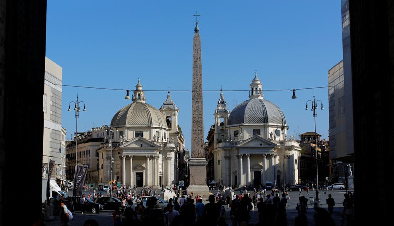 FILE PHOTO: People walk in the Popolo's Square in Rome