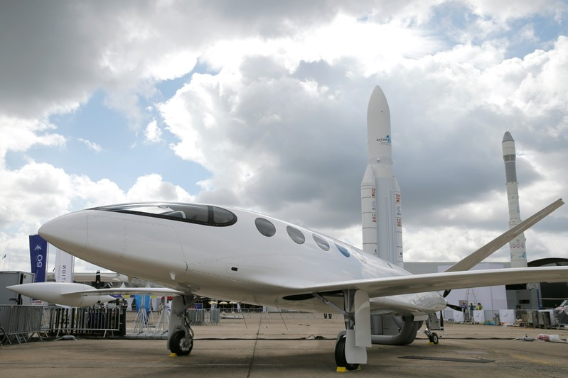 Israeli Eviation Alice electric aircraft is seen on static display, at the eve of the opening of the 53rd International Paris Air Show at Le Bourget Airport near Paris