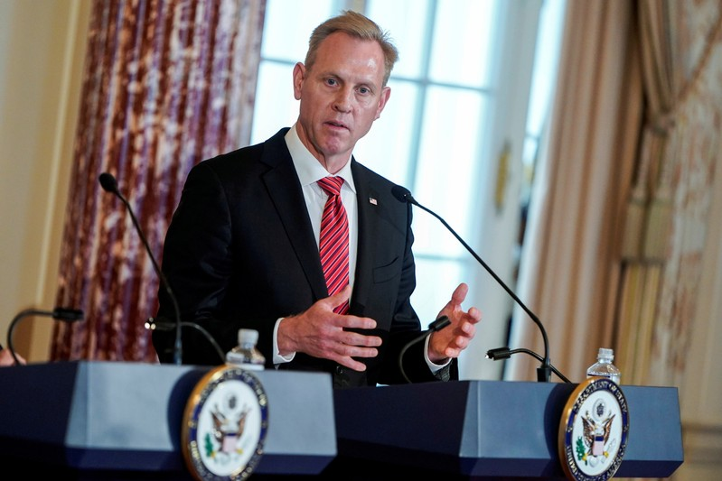 FILE PHOTO: Acting U.S. Secretary of Defense Patrick Shanahan speak to the media at the State Department in Washington