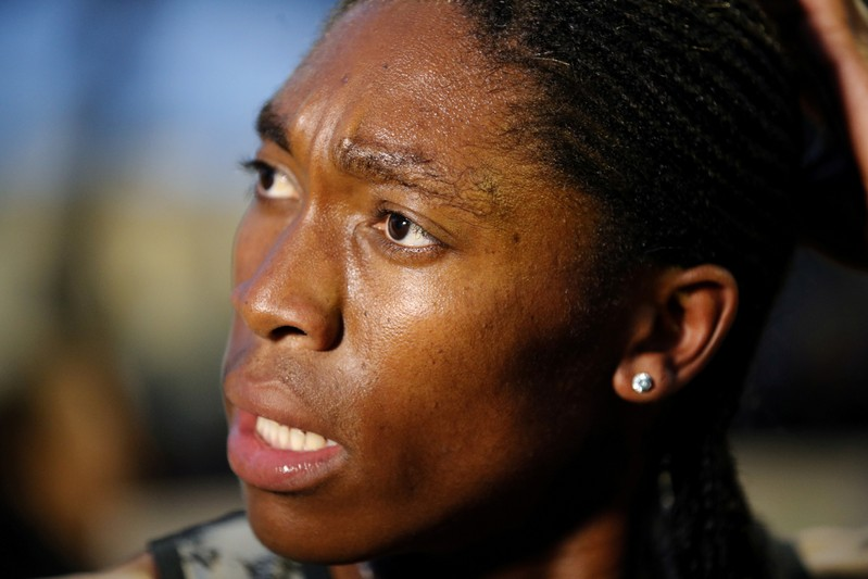FILE PHOTO: South African athlete Caster Semenya speaks with journalists after she raced for the first time after her ban in France