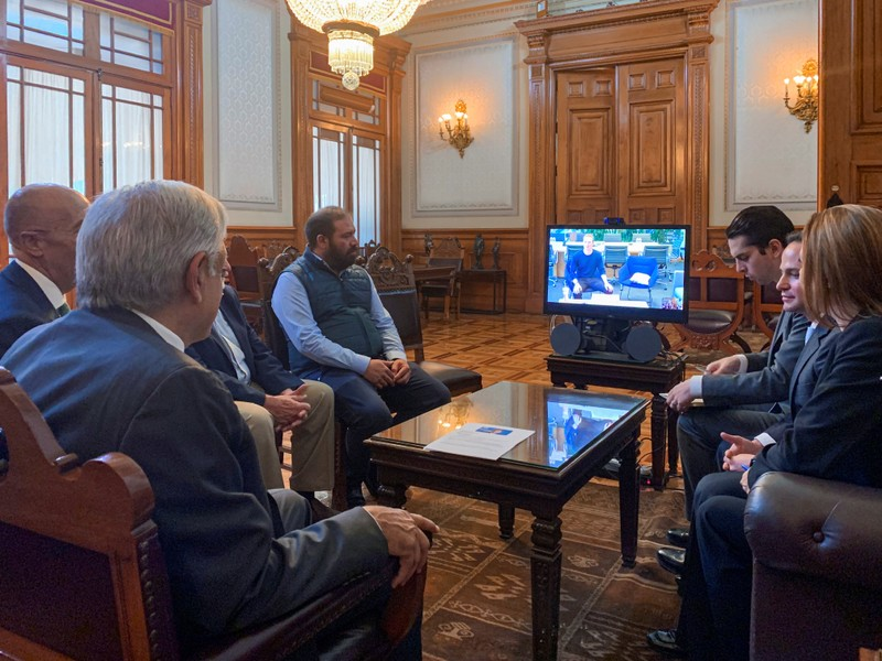 Mexico's President Andres Manuel Lopez Obrador holds a video conference with Facebook Inc's Mark Zuckerberg at National Palace in Mexico City