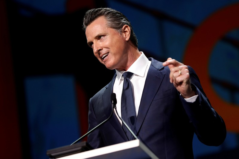 FILE PHOTO: California's Governor Gavin Newsom speaks during the California Democratic Convention in San Francisco
