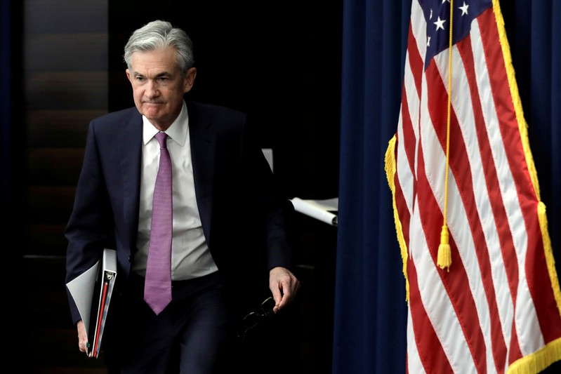 FILE PHOTO: Federal Reserve Board Chairman Jerome Powell holds a news conference in Washington