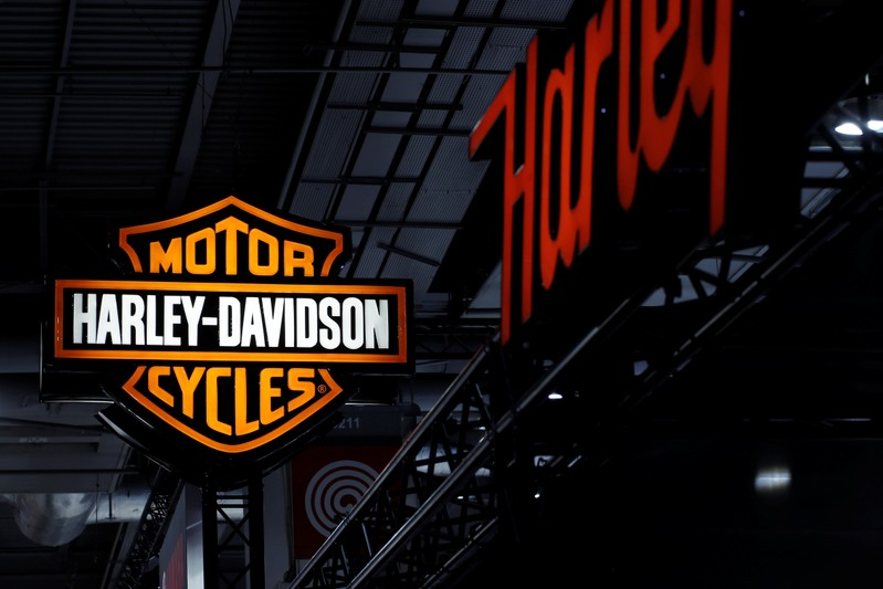 FILE PHOTO: A Harley-Davidson Inc. logo is seen at the Paris auto show in Paris