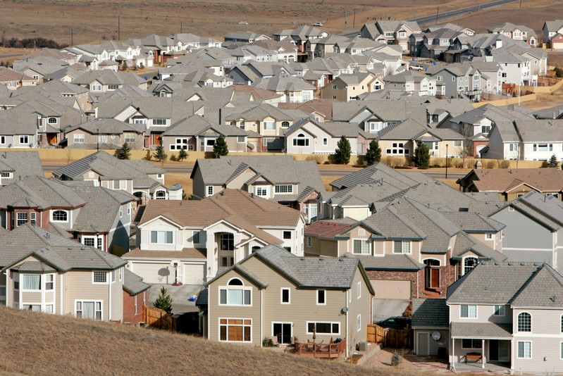 A view of a neighborhood in the town of Superior, Colorado, a Denver suburb February 27, 2006. Sales..