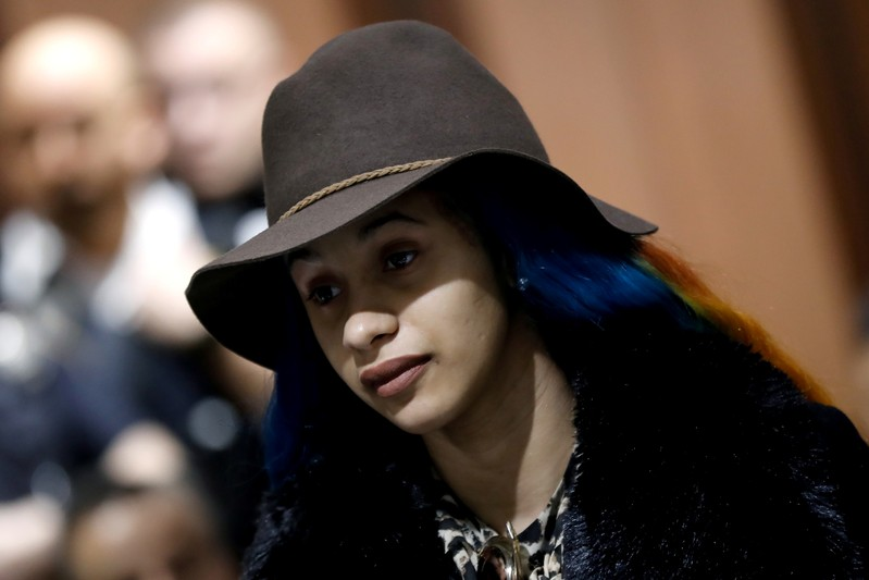 Singer Cardi B stands during her arraignment at Queens County Criminal Court in the Queens Borough of New York