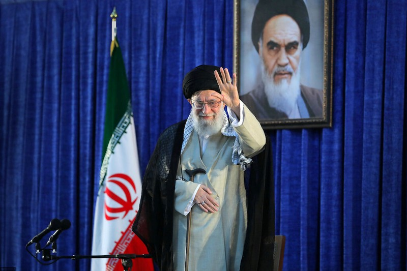 FILE PHOTO:  Iran's Supreme Leader Ayatollah Ali Khamenei waves his hand as he arrives to deliver a speech during a ceremony marking the 30th death anniversary of the founder of the Islamic Republic Ayatollah Ruhollah Khomeini in Tehran
