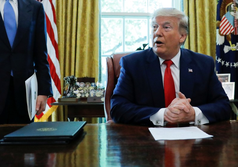U.S.  President Trump announces new sanctions on Iran in the Oval Office at the White House in Washington