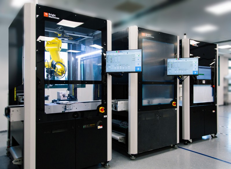 Microfactory cells designed to automate the assembly of electronics by Bright Machines Inc.