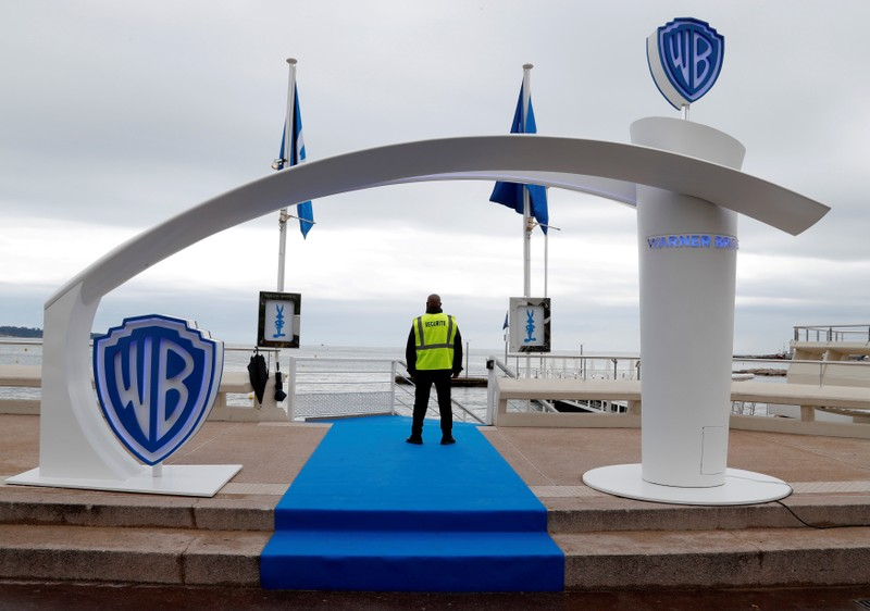 FILE PHOTO: The logo of Warner Bros entertainment company  is seen during the MIPTV, the International Television Programs Market, in Cannes