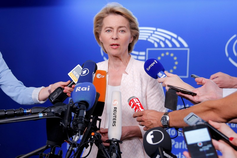 FILE PHOTO: German Defense Minister Ursula von der Leyen, who has been nominated as European Commission President, attends a news conference during a visit at the European Parliament in Strasbourg