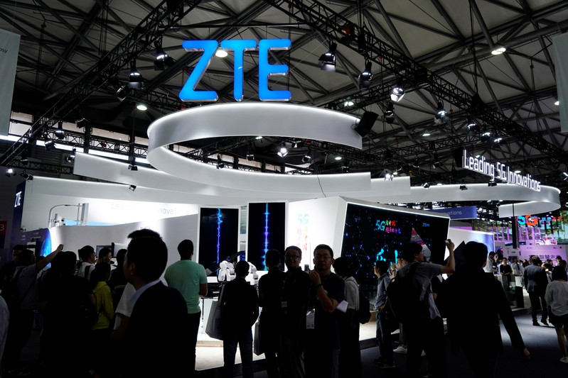FILE PHOTO: A ZTE sign is pictured at Mobile World Congress (MWC) in Shanghai