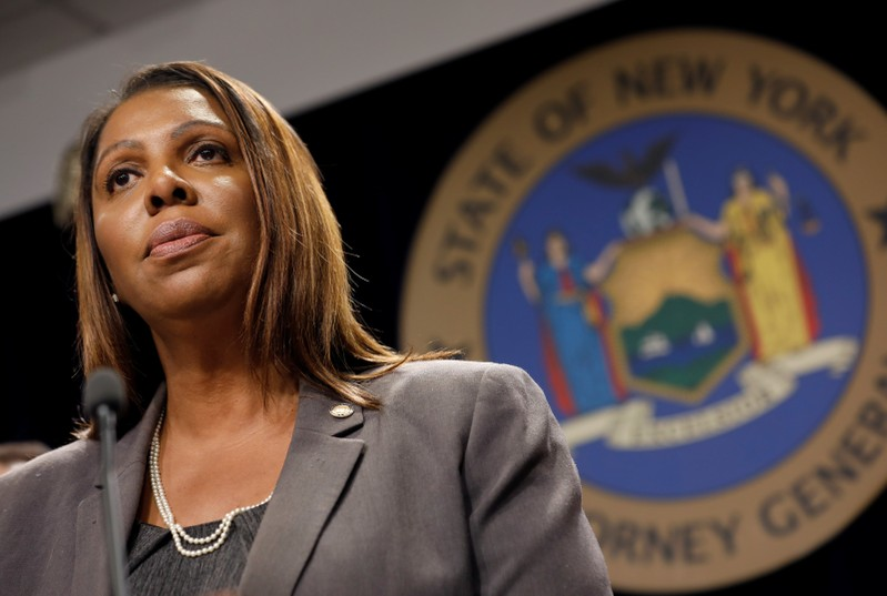 New York State Attorney General Letitia James speaks at a news conference in New York