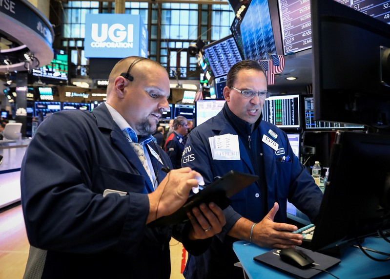 Traders working on the NYSE floor in New York