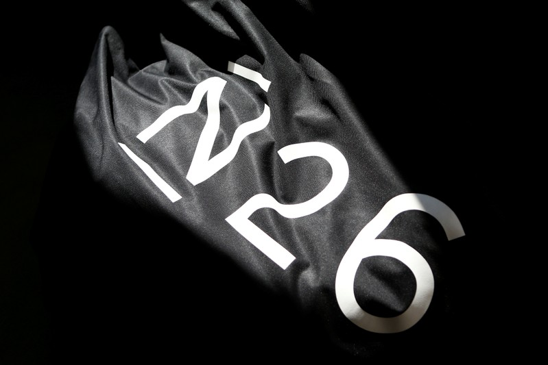 FILE PHOTO: The logo of the Fintech N26 (Number26), seen in the N26 office in Berlin