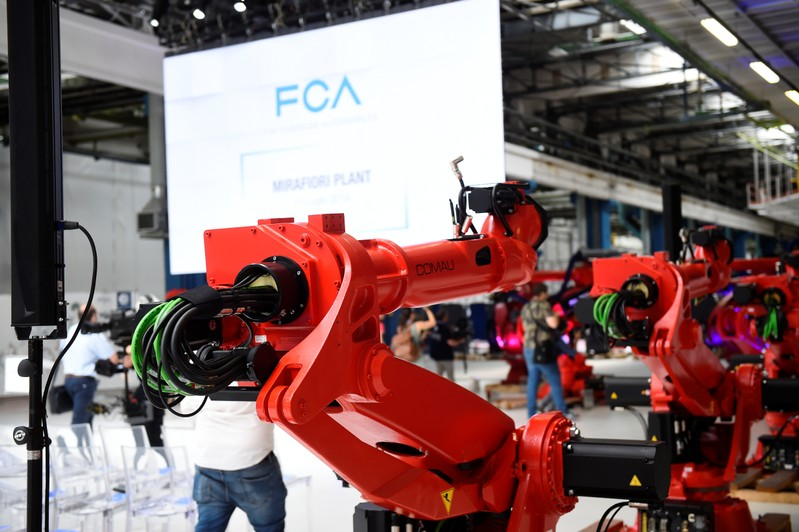 Ceremony to mark the installation of the first robot on the production line for the new electric Fiat 500 BEV at the Mirafiori industrial complex on the 80th birthday of the plant