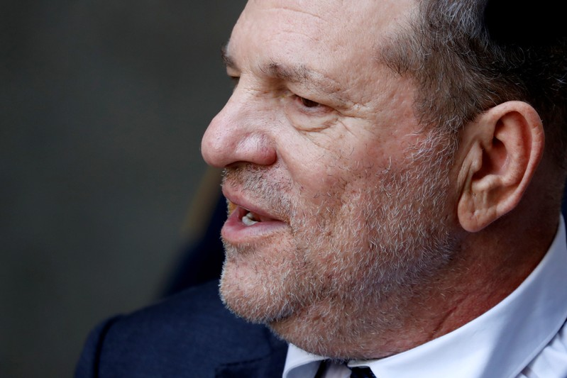Film producer Harvey Weinstein exits New York State Supreme Court after a hearing in his rape case in New York