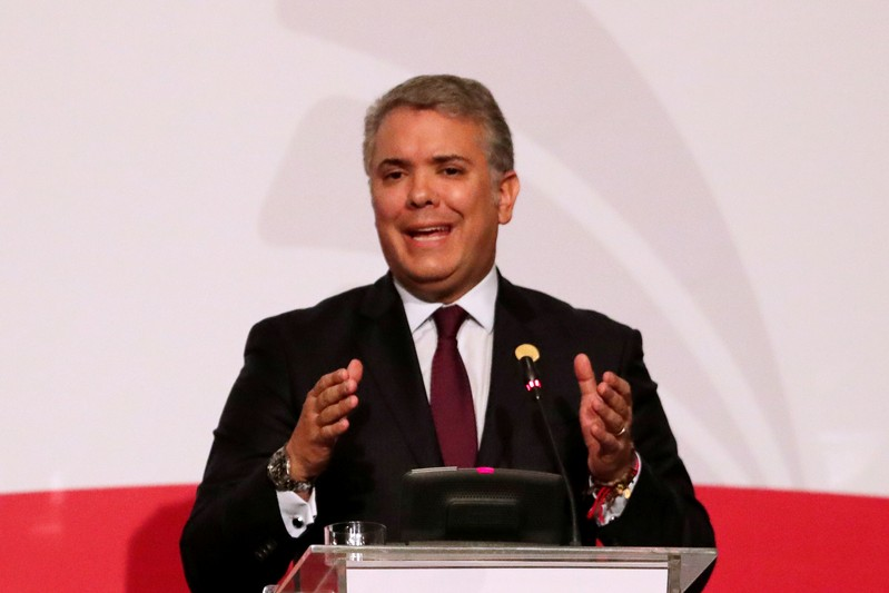 Colombia's President Ivan Duque speaks during the 4th Pacific Alliance Summit in Lima