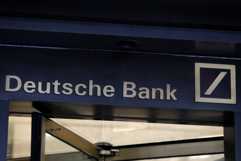 Signage is seen on the lobby of the U.S. headquarters of Deutsche Bank in New York City