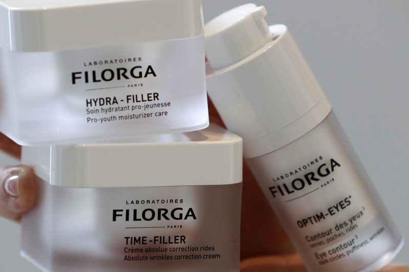 FILE PHOTO - Anti-ageing cosmetics by French Laboratoires Filorga are displayed at the company's showroom in Paris