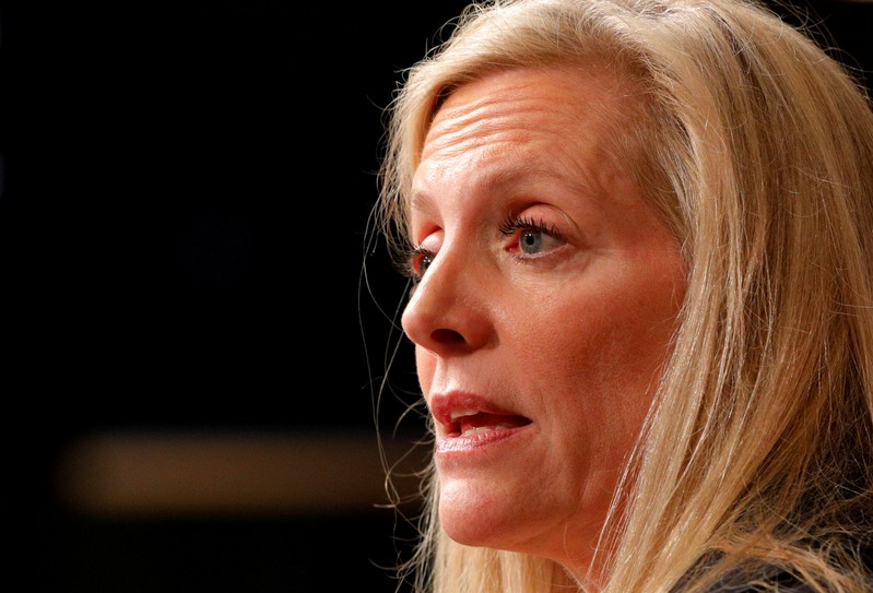 FILE PHOTO: Federal Reserve Board Governor Lael Brainard speaks at the John F. Kennedy School of Government at Harvard University in Cambridge