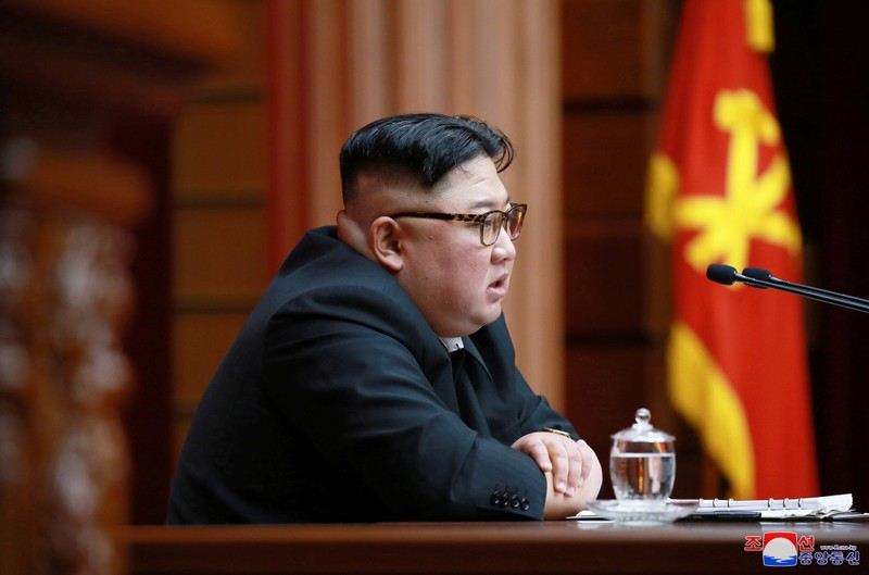 FILE PHOTO: North Korean leader Kim Jong Un speaks during the 4th Plenary Meeting of the 7th Central Committee of the Workers' Party of Korea in Pyongyang