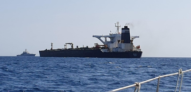 FILE PHOTO: Oil supertanker Grace 1 on suspicion of being carrying Iranian crude oil to Syria is seen near Gibraltar