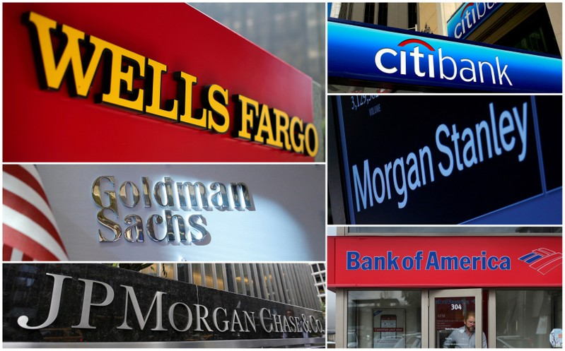 FILE PHOTO: A combination file photo shows Wells Fargo, Citigbank, Morgan Stanley, JPMorgan Chase, Bank of America, JPMorgan, and Goldman Sachs from Reuters archive