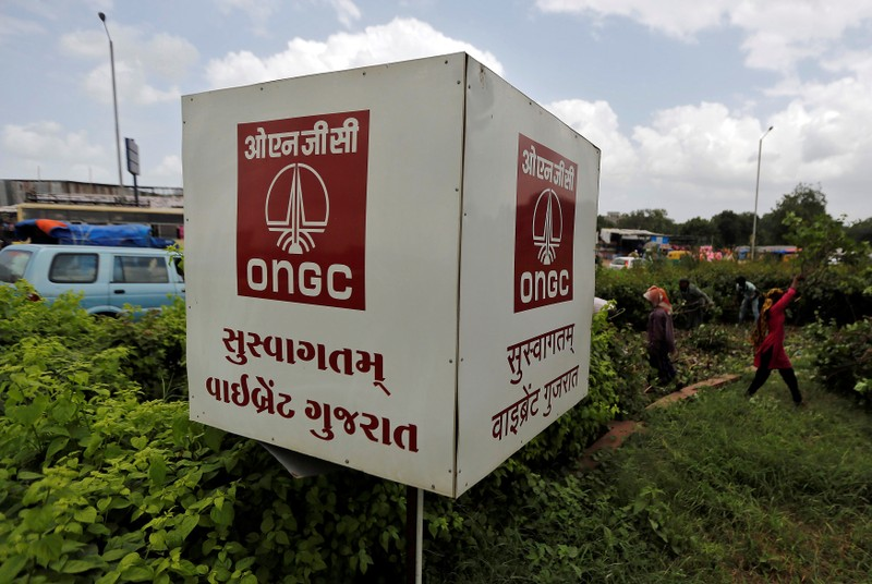 The logo of Oil and Natural Gas Corp's (ONGC) is pictured along a roadside in Ahmedabad