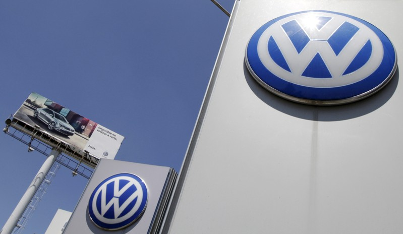 FILE PHOTO: The logo of German carmaker Volkswagen is seen at the Volkswagen (VW) automobile manufacturing plant in Puebla near Mexico City