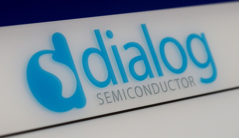 FILE PHOTO:  Dialog semiconductor logo is pictured at company building in Germering