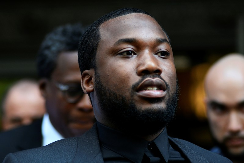 Rapper Meek Mill departs after lawyers from both sides made a brief statement to the judge in a retrial hearing in court in Philadelphia