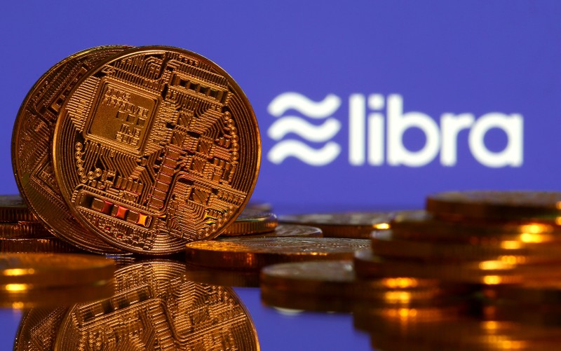 Representations of virtual currency and Libra logo illustration picture