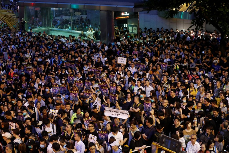 Civil servants attend a rally to support the anti-extradition bill protest in Hong Kong