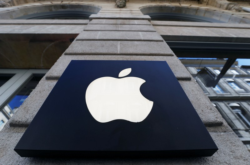 The logo of Apple company is seen outside an Apple store in Bordeaux