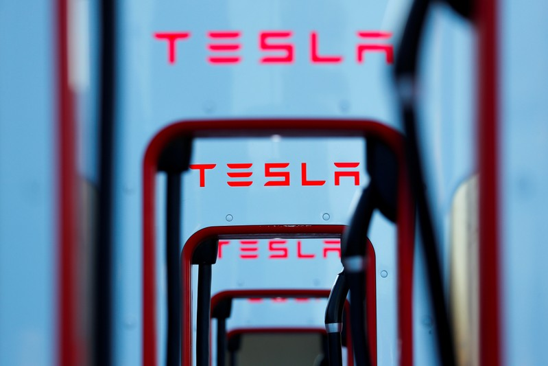 FILE PHOTO: Tesla super chargers are shown in Mojave, California