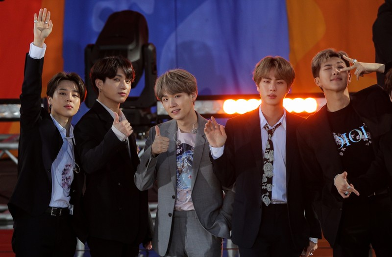 Members of K-Pop band, BTS appear on ABC's 'Good Morning America' show in Central Park in New York