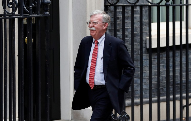 U.S. National Security Advisor John Bolton arrives for a meeting with Britain's Chancellor of the Exchequer Sajid Javid  at Downing Street in London