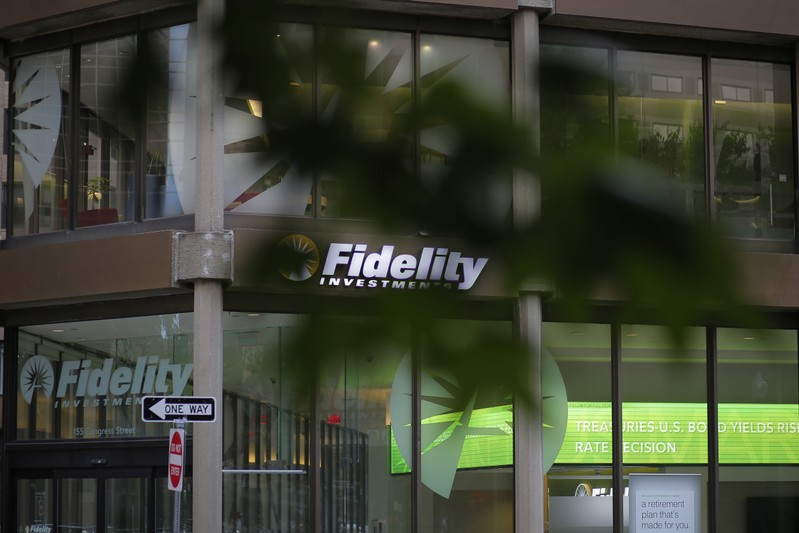 A sign marks a Fidelity Investments office in Boston