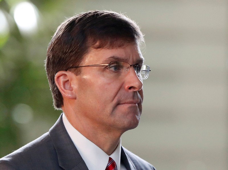 FILE PHOTO: U.S. Secretary of Defence Mark Esper arrives for a meeting with Japanese Prime Minister Shinzo Abe at Abe's official residence in Tokyo