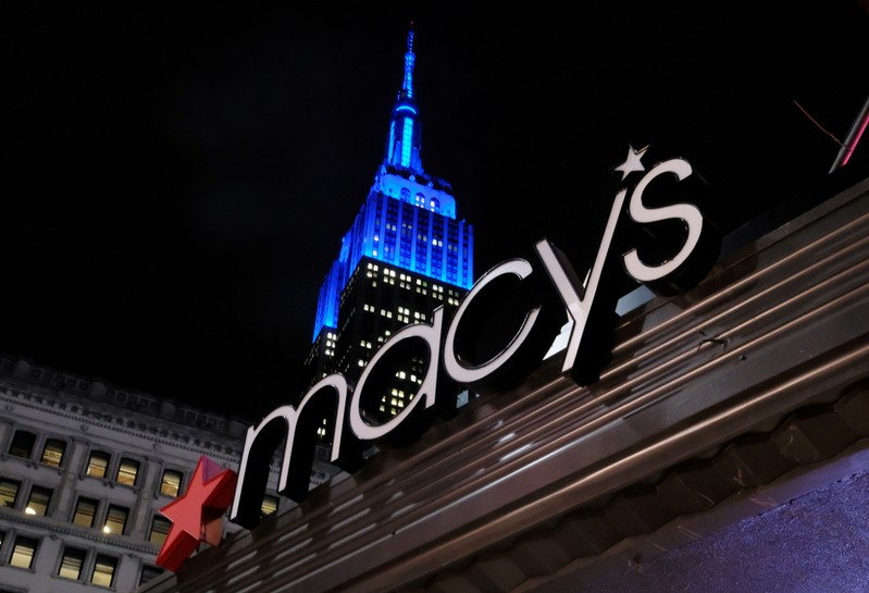 FILE PHOTO: The front entrance sign of Macy's Herald Square in New York
