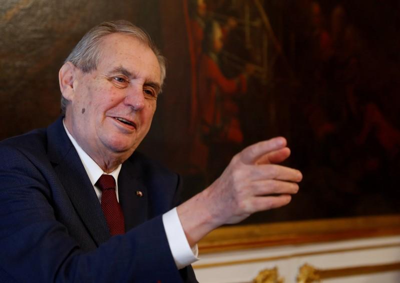 FILE PHOTO: Czech President Zeman gestures in Vienna