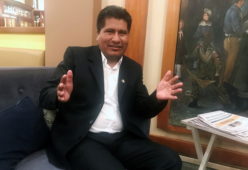Walter Aduviri, governor-elect of the Puno region in southern Peru, talks during an interview in Lima