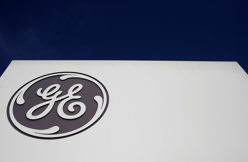 The logo of US conglomerate General Electric is pictured at the company's site of its energy branch in Belfort